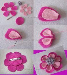 Rainbow's Crafts and Creations: How to Make Simple Felt Flowers Cloth Flowers, Felt Flowers, Fabric Flowers, Felt Diy, Felt Crafts, Fabric Crafts, Rainbow Crafts, Felt Brooch, Felt Patterns