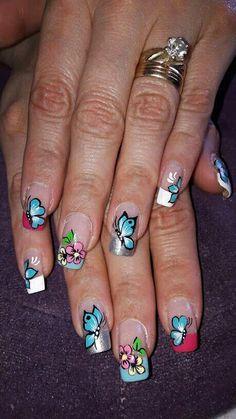 Manicure, Nails, Beauty, Florals, Fingernail Designs, Nail Bar, Finger Nails, Beleza, Ongles