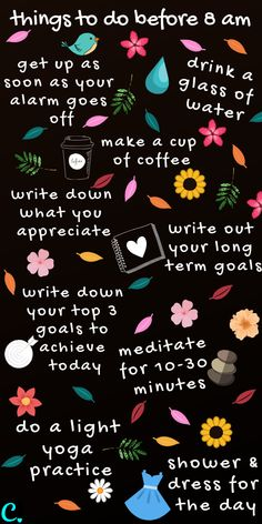 The Best Morning Routine: 8 Things To Do Before 8 a. - Captivating Crazy - Cindy OBrien - The Best Morning Routine: 8 Things To Do Before 8 a. – Captivating Crazy The best morning routine infographic Healthy Mind, Healthy Habits, Motivacional Quotes, Life Quotes, Healthy Morning Routine, Morning Routines, Morning Habits, Vie Motivation, Happiness Challenge