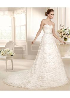 GRACEFUL ORGANZA SATIN SWEETHEART NECKLINE NATURAL WAISTLINE A-LINE WEDDING DRESS SEXY LADY LACE FORMAL PROM BRIDESSMAID