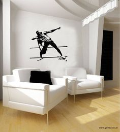 Usain Bolt London 2012 Olympics Lightning Pose Vinyl Wall Sticker