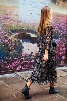 Sheer, dark, floral midi dress & Chelsea boots Autumn 2016 street style women