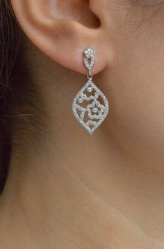 Art Deco Cubic Zirconia Earrings  Filigree Bridal by barargent