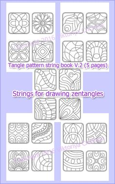 Tangle pattern string book pages), strings for drawing zentangles, digital PDF book printable. PDF book includes 5 pages with strings for drawing zentangles. Print sheet and fill Tangle read Zentangle Patterns For Beginners, Easy Zentangle Patterns, Doodle Patterns, Pattern Drawing, Pattern Art, Pattern Library, Mandala Art, Mandala Doodle, Mandala Design