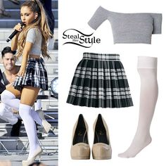 Ariana Grande Cute School Outfit - Cotton Spandex Off-Shoulder Top Opaque Over-the-Knee Socks Alice + Olivia Fizer Box-Pleated Plaid Skirt Saint Laurent Classic Tribute Two 105 Pumps -- Steal her Style with one klick! --