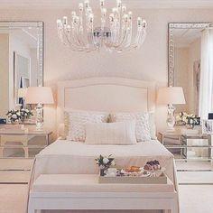 Luxury bedroom furniture mirrored night stands white headboard: - Luxury Home Luxury Bedroom Furniture, Glam Bedroom, Bedroom Sets, Home Bedroom, Luxury Bedding, Furniture Sets, White Furniture, Mirrored Furniture, Bedroom Dressers