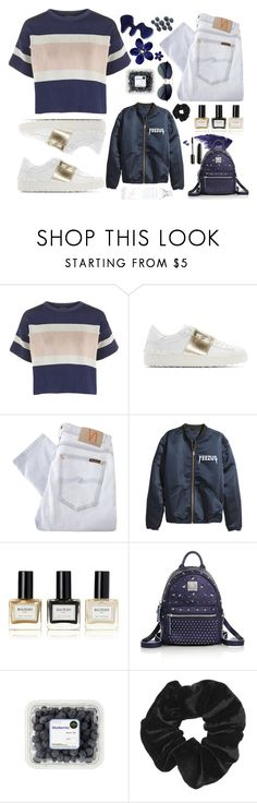 """""""Blueberry"""" by firerose800 ❤ liked on Polyvore featuring Topshop, Valentino, Nudie Jeans Co., Balmain, MCM, Blue, sneakers and Yeezus"""