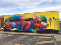Okuda San Miguel (previously here and here) recently visited the Italian town of Arcugnano with his assistant Antonyo Marest to paint five different murals on the walls of the town's kindergarten. TOkuda_03