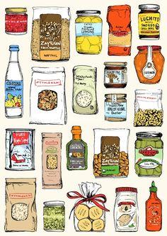 Ottolenghi pantry ingredients illustration by May van Millingen