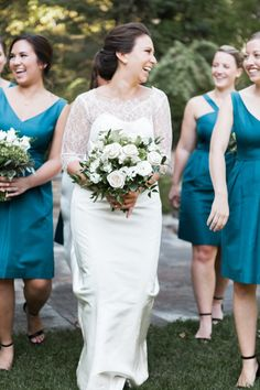 Have fun with your bridesmaids on your special day! http://www.stylemepretty.com/little-black-book-blog/2016/12/13/teal-ivory-gold-connecticut-wedding/ Photography: Brigham and Co - http://www.brighamandco.com/