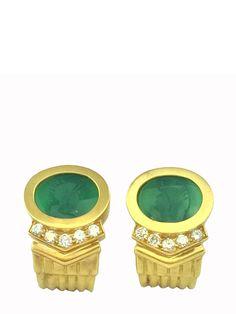 GNK Hand Carved Green Onyx Intaglio Diamond Earrings