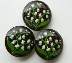 LOT 3 Buttons LILY OF THE VALLEY FLOWER Design Under Glass Dug Antique Vintage #unknown