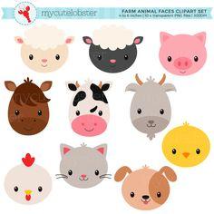 Set de granja animales caras imágenes por mycutelobsterdesigns