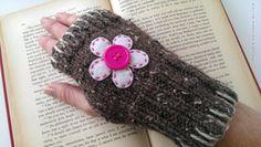 Fingerless Gloves - Ladies Fingerless Gloves, Knit in Barley with White & Pink Flower