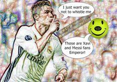 Cristiano Ronaldo Wants Fans Not to Whistle Him #Ronaldo #Xavi #Messi #Bale #Atleti #ElClasico #RealMadrid #Barcelona #HalaMadrid #FCBLive #ForçaBarça #LaLiga #CR7 #CL #Suarez #Neymar #Madrid #Barça #FCBarcelona #Pique #Jokes #Comic #Laughter #Laugh #Football #FootballDroll #Funny