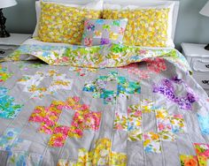 Hideaway Girl: Finished Spring Vintage Sheet Quilt >> This is so charming!
