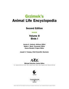 Grzimek's Encyclopedia 2nd Ed. - Vol. 8-11 - Birds (Pics Only)  cool, best