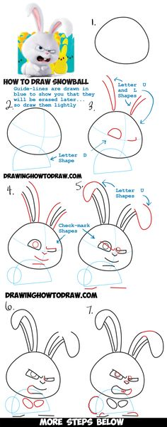 How to Draw Snowball the Bunny Rabbit from The Secret Life of Pets Drawing Tutorial - How to Draw Step by Step Drawing Tutorials 3d Drawings, Disney Drawings, Cartoon Drawings, Animal Drawings, Drawing Sketches, Sketching, 3d Drawing Tutorial, Drawing Tutorials For Kids, Drawing For Kids