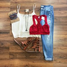 This Sweet & Simple #top is so versatile when it comes to styling! The cream color really makes the red lace #bralette pop! It goes great with these #denim jeans and gladiator #sandals. Finish it off with a BoHo headband  http://www.paperdollchick.com/blog/boho-chic/