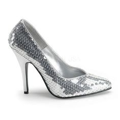 Pleaser Shoes Seduce-420SQ Silver Sequin Sexy silver shoes with sequin decorated top, pointed toe, front flat sole, V-shaped topline and dramatic foot arch supported by the sassy 5 inch (12.5 cm) silver stiletto heels. Spreading sparkles all http://www.MightGet.com/january-2017-12/pleaser-shoes-seduce-420sq-silver-sequin.asp