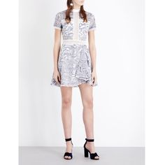 Self-Portrait Eliza Cutwork lace mini dress (£220) ❤ liked on Polyvore featuring dresses, white dress, white fit-and-flare dresses, lace dress, white fit and flare dress and short white cocktail dress