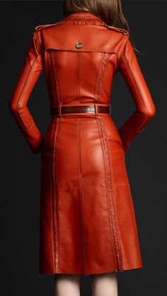 heart melt.... burberry leather orange trench. the. most. amazing. jacket. ever.