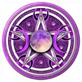 Purple pentacle with Goddess moon symbol