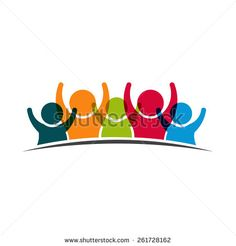 Teamwork Five Friends logo image. Concept of Group of People, happy team, victory