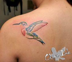 clovis ink tattoo, rudy acosta, color tattoo, bird tattoo, rainbow bird, back tattoo, girly tattoo,