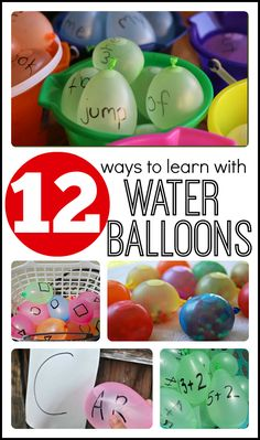 So perfect for summer!  12 Ways to LEARN with water balloons!