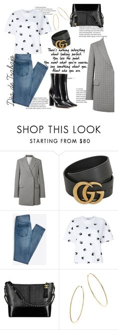 """""""Work Work Work *Rihanna voice*"""" by kimtaelion ❤ liked on Polyvore featuring Calvin Klein 205W39NYC, Gucci, McQ by Alexander McQueen, Chanel, Bloomingdale's and Vetements"""