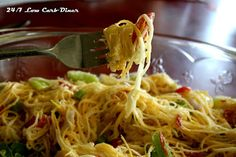 24/7 Low Carb Diner: Angel Hair Salad - Ingredients: 1 large yellow summer squash, or two small ones, 1 medium green bell pepper, 6 grape tomatoes, 1/4 red onion, 1 ounce pepperoni slices or cubes, 1/2 -3/4 cup creamy Italian dressing, 1/4 cup Parmesan cheese