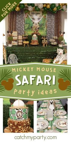 Check out this fun Mickey Mouse Safari Baby Shower! The cake is so much fun! See more party ideas and share yours at CatchMyParty.com Jungle Party, Safari Party, Jungle Safari, Mickey Mouse Parties, Mickey Party, Baby First Birthday, Boy Birthday Parties, Party Activities, Baby Shower Cakes