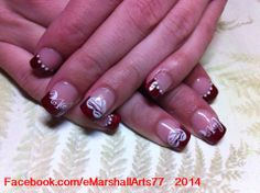 #INM Northern Lights Red Acrylic with stamped Nail art.  #ValentinesDay
