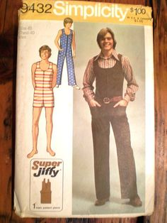 For a Victorian / steampunk striped swimsuit! - 1970s Simplicity 9432 Jiffy Jumpsuit Pattern Sz40