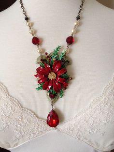 Vintage poinsettia b Vintage poinsettia brooch, repurposed hinge Christmas necklace from Vintagefrivolity on Etsy