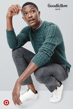 Give your fall look something extra with this soft cable-knit sweater from Goodfellow & Co.