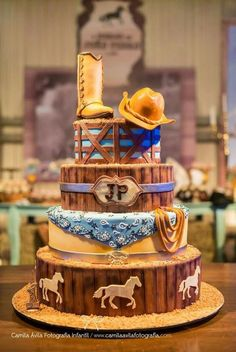Cowboy cake idea for the lil cowboy birthday Cowboy Birthday Cakes, Cowgirl Cakes, Western Cakes, Horse Birthday, Country Birthday Cakes, Cowboy Party, Cowboy Theme, Cowboy Baby Shower, Farm Cake