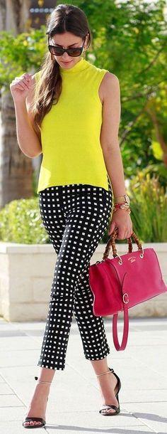 #spring #summer #street #style #outfitideas | Bright Yellow + Black And White Checks | 1sillaparamibolso
