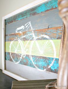 reclaimed wood bike art, crafts, home decor, woodworking projects, Spring colors make me Bicycle Painting, Bicycle Art, Painting On Wood, Bicycle Design, Bicycle Tools, Wood Projects, Woodworking Projects, Projects To Try, Class Projects