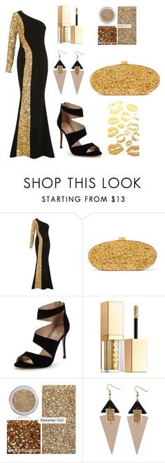 """*Gold*"" by prettyfashionist ❤ liked on Polyvore featuring Elizabeth Kennedy, Edie Parker, Carvela, Stila, Material Girl and Toolally"