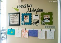Rockstar Masterpieces A Childrens Art Wall Display is part of Rockstar Masterpieces A Childrens Art Wall Display - Get your kids artwork off the fridge! This Rockstar themed Childrens Art Wall is a fun way to display kids art in a fun, modern way Art For Kids, Crafts For Kids, Art Children, Displaying Kids Artwork, Childrens Wall Art, Silhouette Projects, Silhouette Cameo, Vinyl Projects, E Design