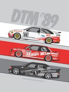1989 DTM Touring cars – The season saw Ford Sierras, Mercedes and BMW compete all over Germany. Their epic on track battles will forever link them together with one of the best periods in sports car racing history! Sports Car Racing, Race Cars, Vintage Racing, Vintage Cars, E36 Coupe, Bmw E36, Ford Sierra, Car Illustration, Technical Illustration