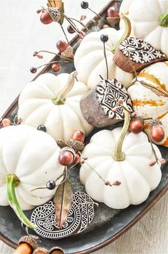 60 FABULOUS FALL IDEAS to use in your home. It Faux Pumpkins, Small Pumpkins, White Pumpkins, Painted Pumpkins, Pumpkin Uses, Diy Pumpkin, Pumpkin Crafts, Fall Home Decor, Autumn Home