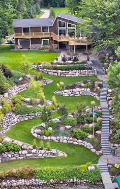 Sloped Backyard Landscaping, Terraced Landscaping, Landscaping On A Hill, Sloped Yard, Landscaping Retaining Walls, Backyard Patio, Terraced Backyard, Hillside Garden, Terrace Garden