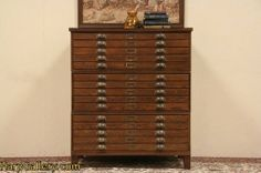 SOLD - Oak Map Chest File or Document Cabinet, 15 Drawers - Harp Gallery Antique Furniture