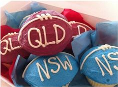 Qld and NSW State of Origin cupcakes