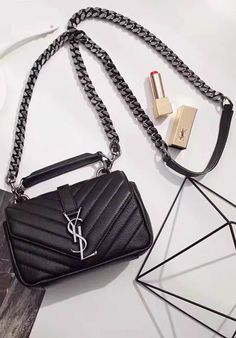 7c5adcf582bc Saint Laurent Classic Baby College Monogram Chain Bag in Black Matelasse  Leather