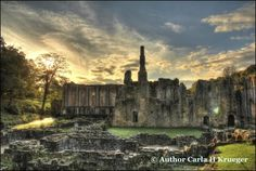 This is a sunset view of Fountains Abbey in Yorkshire. #derelict