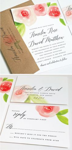 Amelia Watercolor Rose Floral Wedding Invitation Sample - Beautiful Script, Coral and Pink Watercolour Flowers, Recycled Kraft Envelope